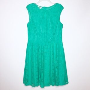 London Style Collection Green Lace Dress
